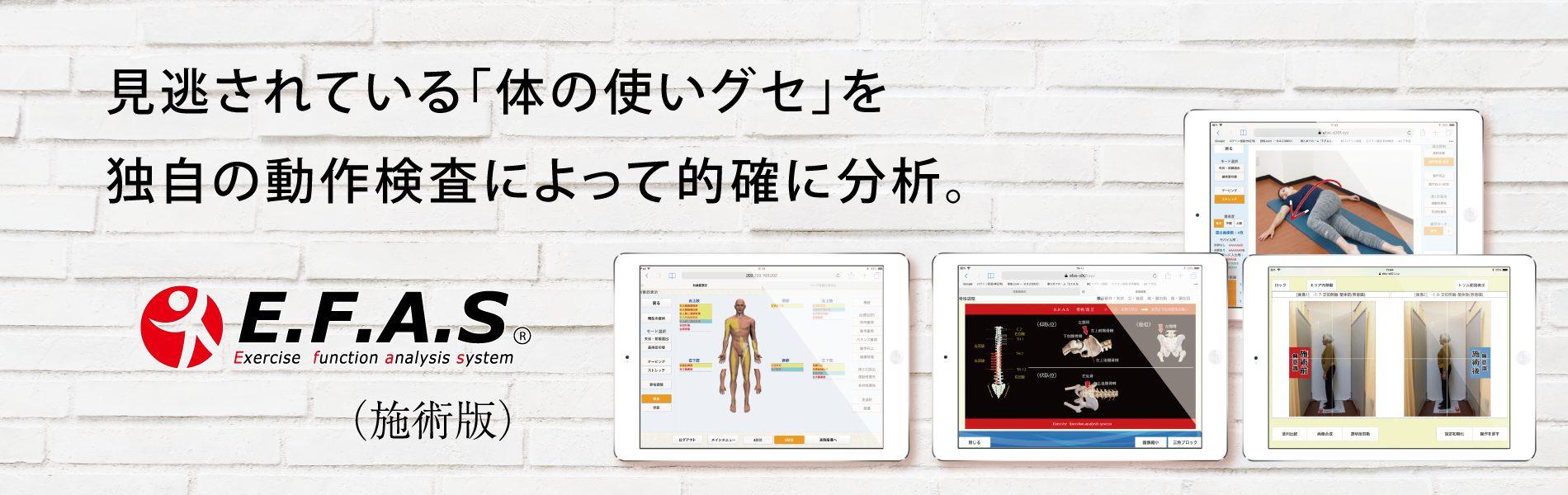根本原因の検査 運動機能分析システム/姿勢検査/施術技術 整体院・整骨院・接骨院・リハビリなどで、腰椎ヘルニア/脊柱管狭窄症/五十肩/変形性膝関節症の早期改善と再発を予防します。運動分析は根本施術として利用される独自の施術方法です。アスリートや大学病院の医師も通われる整体技術です。自費移行や強化を目指す方は、イーファスにお任せください。